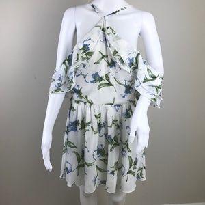 Missguided Halterneck Floaty Floral Skater Dress 8